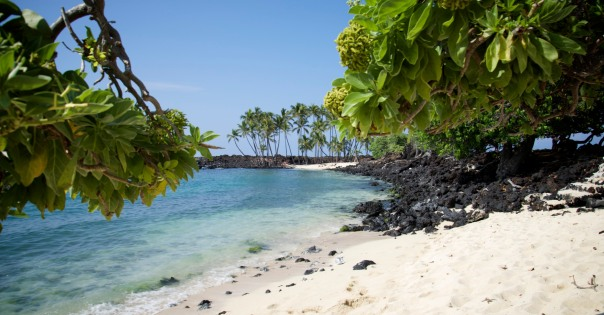 The postcard-like scene on the beach, with lava rocks and white sand.