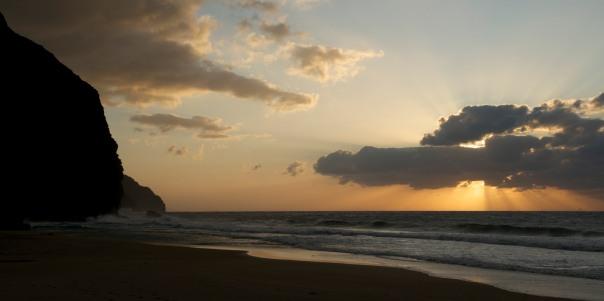 Kalalau beach at sunset