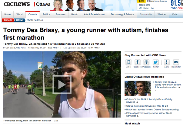 A screen shot from the CBC Ottawa news page today